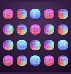 Window treatments and curtains app icons set vector