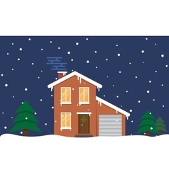 Winter house Night Family suburban home vector