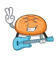 with guitar hamburger bun mascot cartoon vector image
