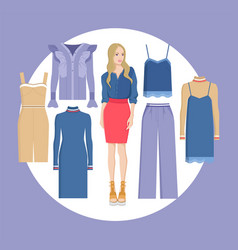 woman and choice of clothes vector image