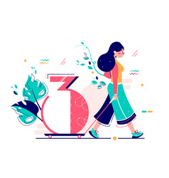woman riding number three on wheels vector image