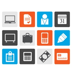 Flat Business and office icons vector image