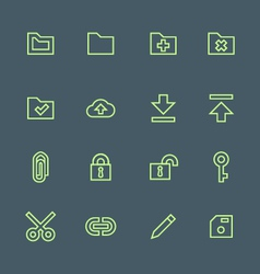 green outline various file actions icons set vector image