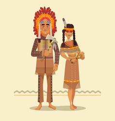 native american indian couple vector image