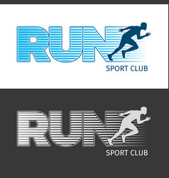 run sport club two pictures with running man vector image
