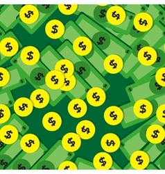 Seamless pattern with money - banknotes and coins vector image