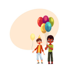black and caucasian little boys with balloons vector image vector image