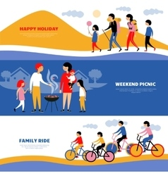 Family Holiday Picnic 3 Banners Set vector image