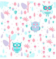 Owl in leaves pattern vector