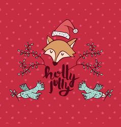christmas holiday red fox cartoon greeting card vector image