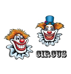 Circus cartoon clowns characters vector image vector image