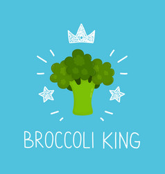 king broccoli cartoon flat and doodle vector image vector image