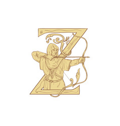 medieval archar aiming bow and arrow letter z vector image
