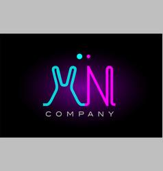 neon lights alphabet xn x n letter logo icon vector image vector image