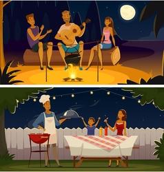 Night Barbecue Party Cartoon Retro Banners vector image vector image