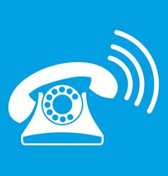 retro phone icon white vector image