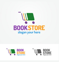book store logo set consisting of books and cart vector image vector image