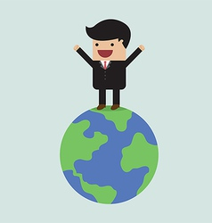 Businessman on the world vector image vector image