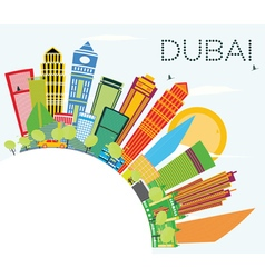 Dubai Skyline with Color Buildings vector image