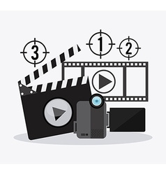 Filmstrip and video camera design vector image
