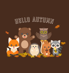 happy autumn typography and cute character vector image