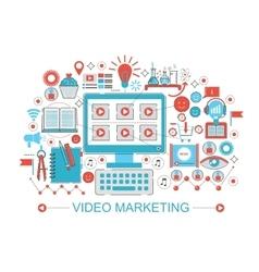 Modern Flat thin Line design digital video vector image