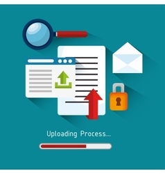 set upload process design isolated vector image