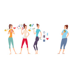 slim and athletic girls and their fat girlfriend vector image