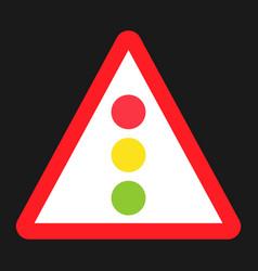 Traffic signal ahead sign flat icon vector