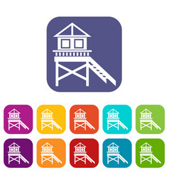 wooden stilt house icons set vector image vector image