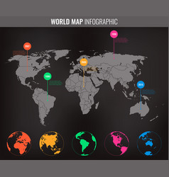 world map infographic template all country are vector image