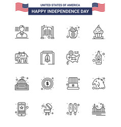 16 creative usa icons modern independence signs vector