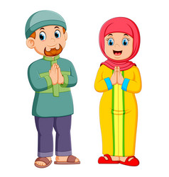 a giving greeting forgiveness ied mubarak vector image