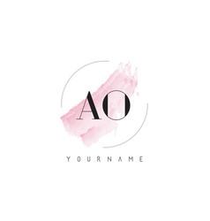 Ao a o watercolor letter logo design vector