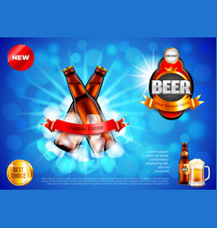 beer ads two bottles with ice cubes on blue vector image