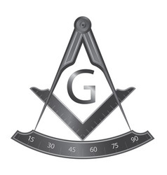 black iron masonic square and compass symbol vector image