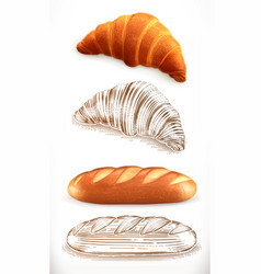Bread croissant loaf 3d realism and engraving vector