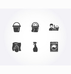 bucket washing cloth and spray icons cleaning vector image
