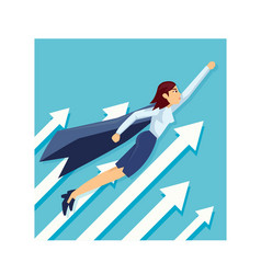 business woman superhero with the capes flying vector image