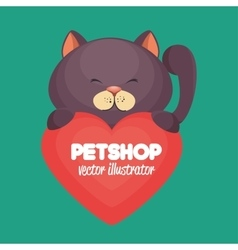 Cartoon gray cat pet shop heart icon design vector