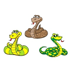 Cartoon snake characters set vector image