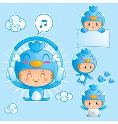 Character set a boy in blue bird costume vector