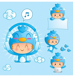 character set of a boy in blue bird costume vector image