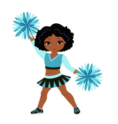 cheerleader in turquoise uniform with pom poms vector image