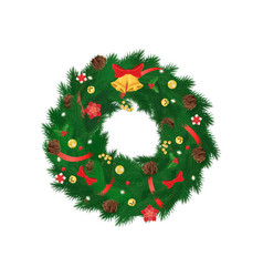 christmas coniferous spruce wreath isolated vector image