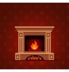 Christmas fireplace room interior vector
