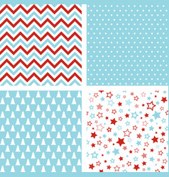 christmas seamless patterns chevron polka dot vector image