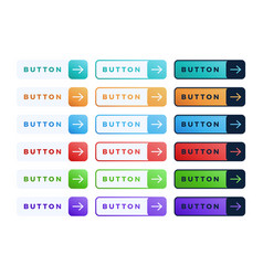 colorful button set on white background three vector image