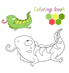 Coloring book iguana kids layout for game vector image