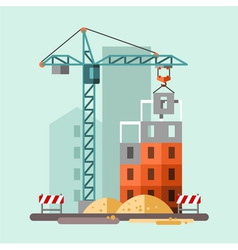 Construction site building a house vector